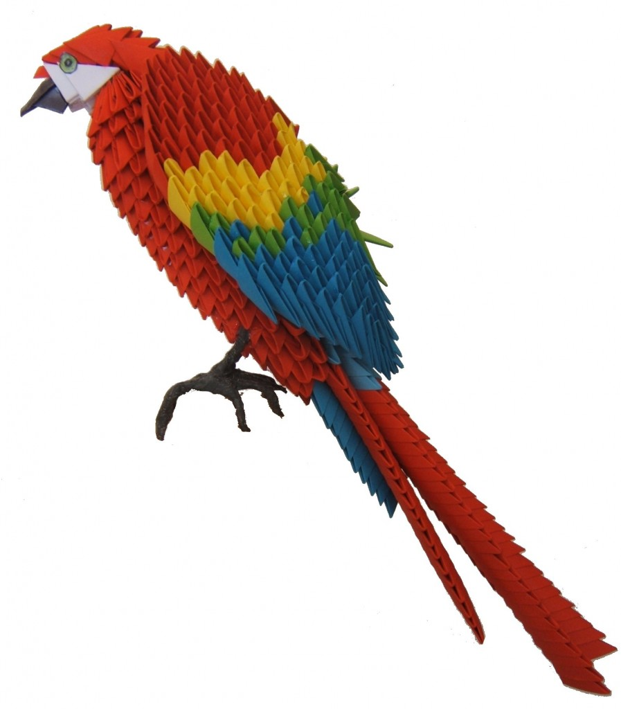 Origami oiseau ara rouge