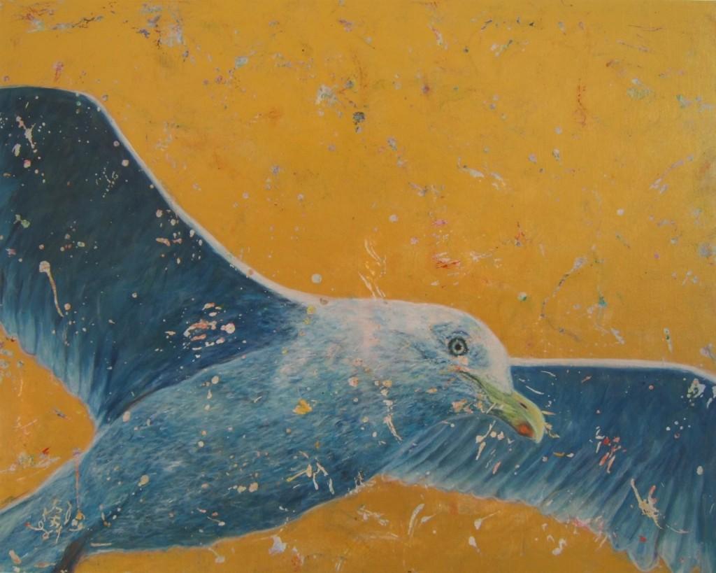 Peinture acrylique oiseau goeland