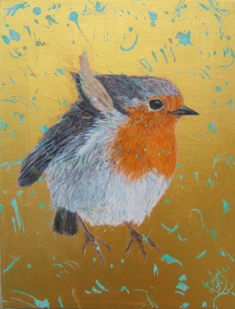 Peinture acrylique oiseau rouge-gorge familier