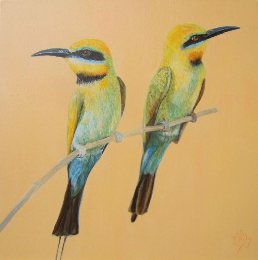 Peinture acrylique oiseaux guepier d'europe