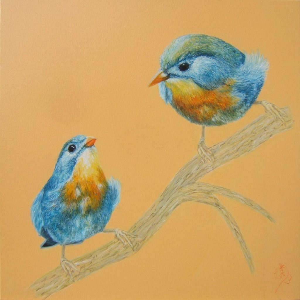 Peinture acrylique oiseau leiothrix