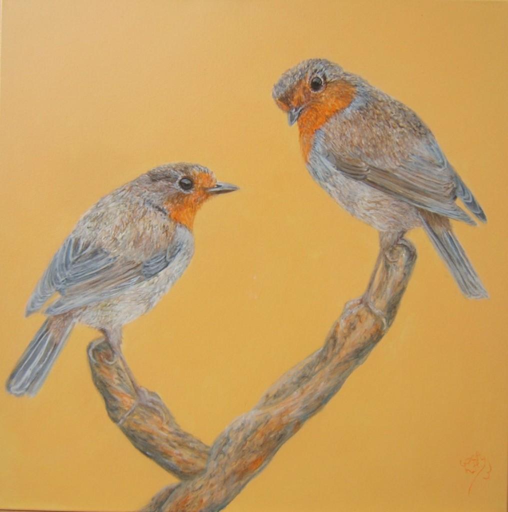 Peinture acrylique oiseaux rouge-gorge