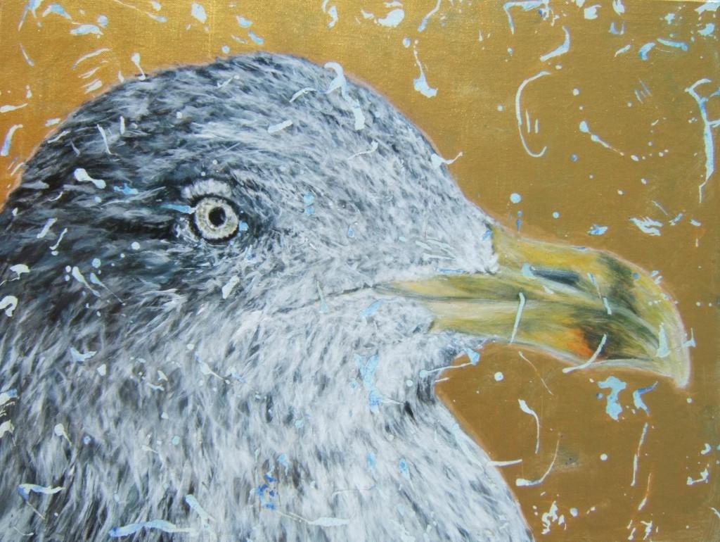 Peinture acrylique oiseau goéland argenté