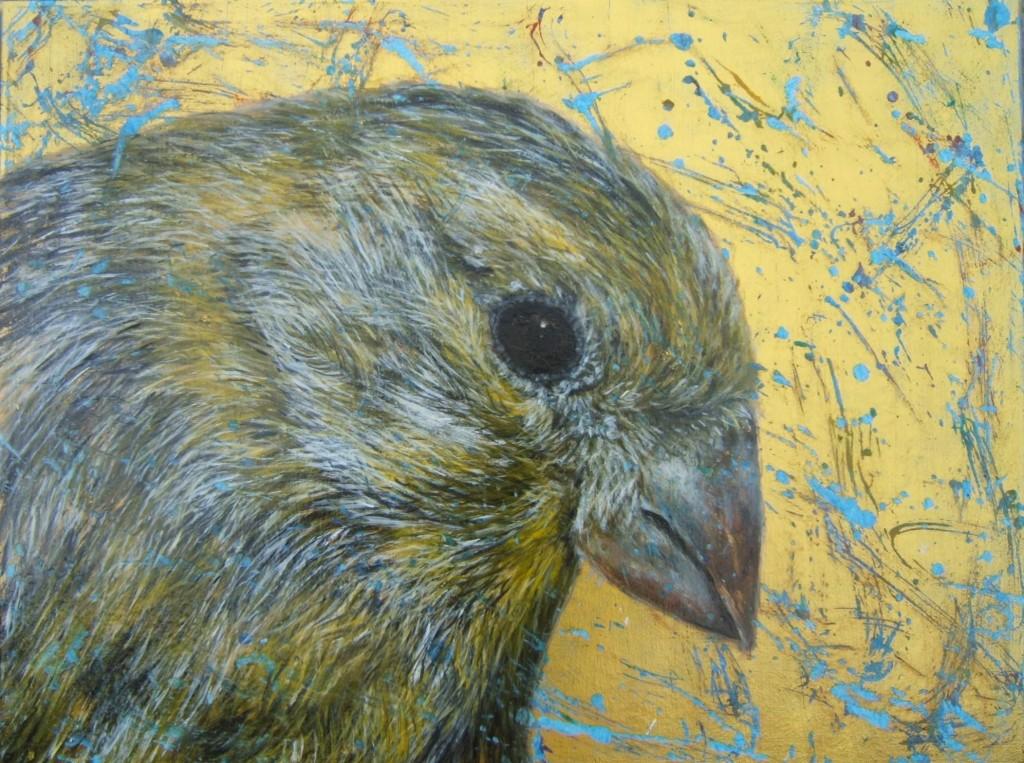 Peinture acrylique oiseau serin cini